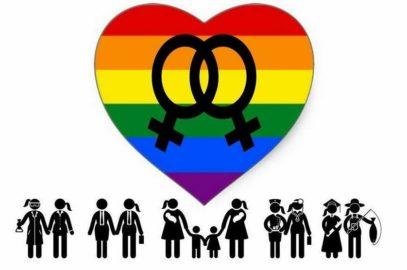 Bandera y stand por el Día de la Visibilidad Lésbica